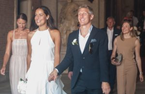 VENICE, ITALY - JULY 12:  Bastian Schweinsteiger and Ana Ivanovic come out of the wedding hall at Palazzo Cavalli after the celebration of their marriage on July 12, 2016 in Venice, Italy.  (Photo by Awakening/Getty Images)
